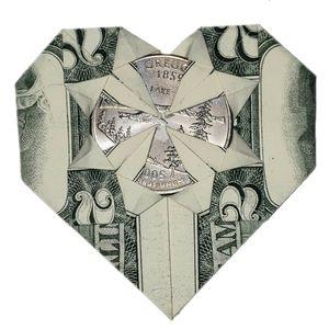 Origami heart 2 dollar bill and quarter